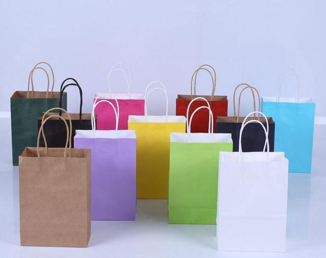 79b769cd99a 100 pcs Punho da Corda Sacola de Compras de Papel Kraft Saco Carry mão Bolsa  Saco