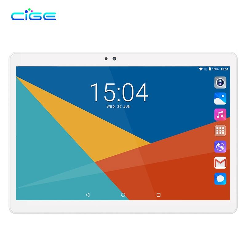 CIGE 10.1 Inch Android 7.0 IPS Tablet PC Octa Core 4GB 32GB 64GB 1280x800 Bluetooth WIFI GPS FM Dual SIM Card Phone Call PAD cige a6510 2018 10 1 inch octa core tablet pc android 3g dual sim 1280 800 ips 4gb wifi bluetooth phone call google play gps