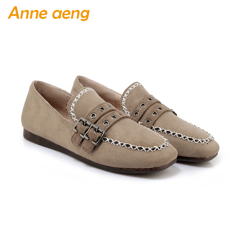 spring summer women loafer flats square toe buckles belts casual style ladies black supper soft outsole women shoes big size 44 new 2017 spring summer women shoes pointed toe high quality brand fashion womens flats ladies plus size 41 sweet flock t179