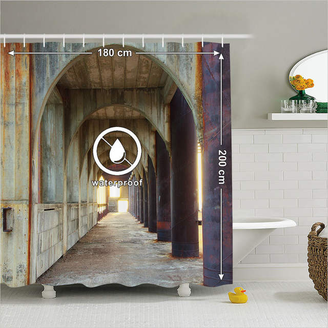 Fabric Shower Curtain Vintage Bathroom