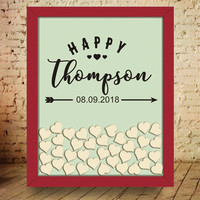 Wedding Guest Book Drop Top Frame Engagement Guest Book for Birthday Party Memory Happy Custom Surname and Date Wedding Decor