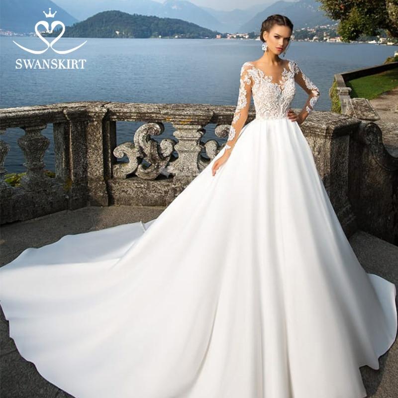 Swanskirt Scoop Satin Wedding Dresses 2019 Appliques Long Sleeve A