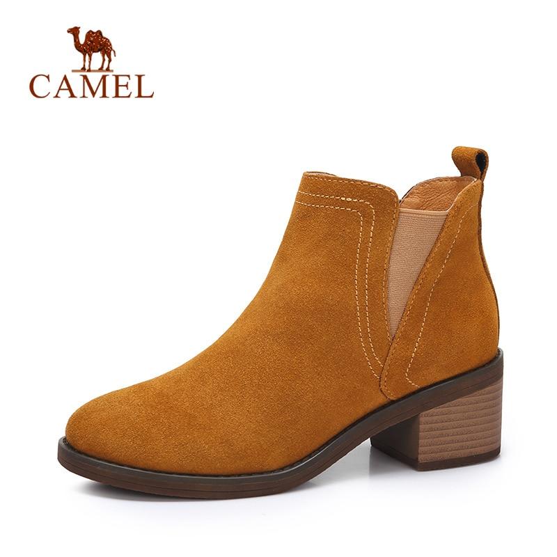 CAMEL Women Suede Retro Ankle Winter Short Boots For Ladies Med Heel Fashion Plush Platform Boots