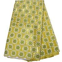 Новейшие разработки желтый цвет африканский шнурок ткани с блестками модные швейцарская вуаль кружевной ткани для праздничное платье 5 ярд