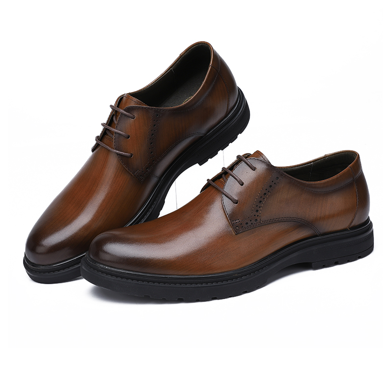 CAMEL Business Men Shoes Casual Shoes Office/wedding Genuine Leather Retro England Male Burnt vintage color cowhide Shoes Men