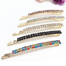 Bright elegant rhinestone crystal jewelry Korean Style Hairpin side folder word folder bangs 1 piece for girls(China)