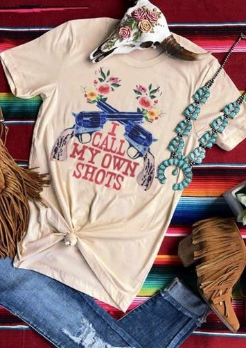 """Summer Short Sleeve """"I Call My Own Shots Floral Letter Print Graphic T-Shirt"""