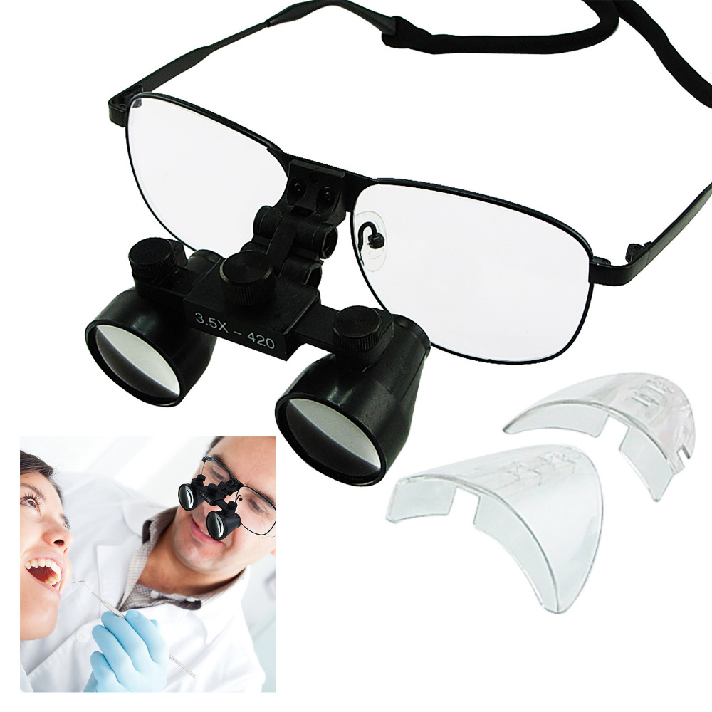 все цены на Surgical Medical 3.5x Magnification Power Galilean Style Dental Loupes Titanium Frame 420mm Working distance онлайн