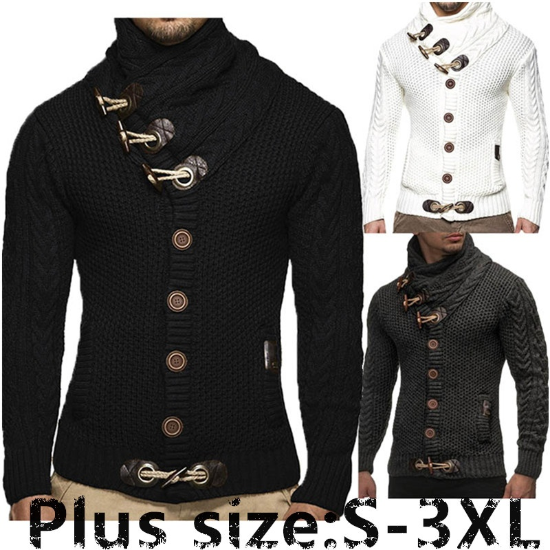 New Style Croissant Button Fashionable Leisure High Collar Men's Twisted Pattern Knitted Cardigan