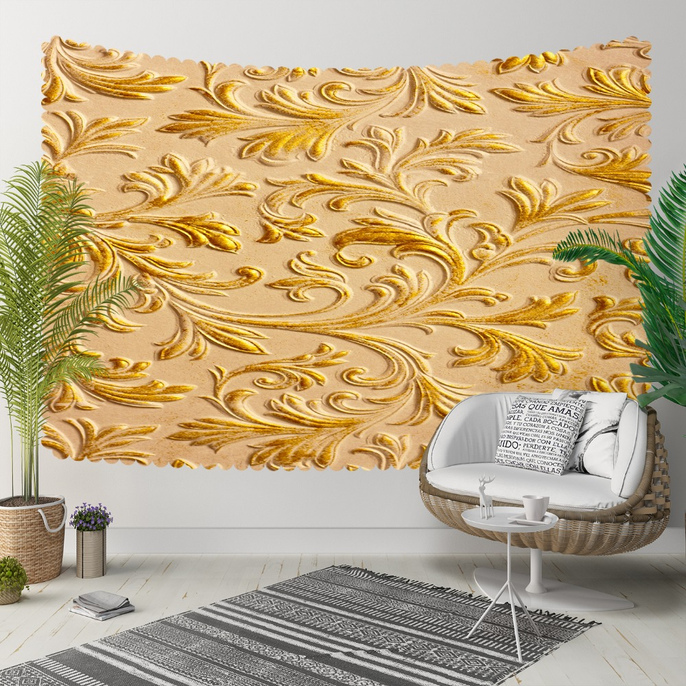 Else Ottoman Ethnic Tradional Golden Yellow Floral 3D Print Decorative Hippi Bohemian Wall Hanging Landscape Tapestry Wall Art
