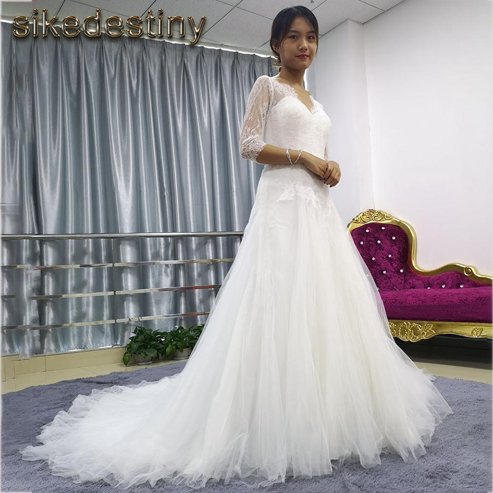us $75.0 |cheap wedding dresses three quarter sleeve bridal dress 2018  clearance sale only several pieces leftour physical store 5156-in  wedding