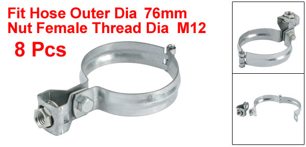 uxcell 5pcs Iron Zinc Plated Hose Clamp for 76mm Outer Dia Tube Pipe W M12 Hang Head