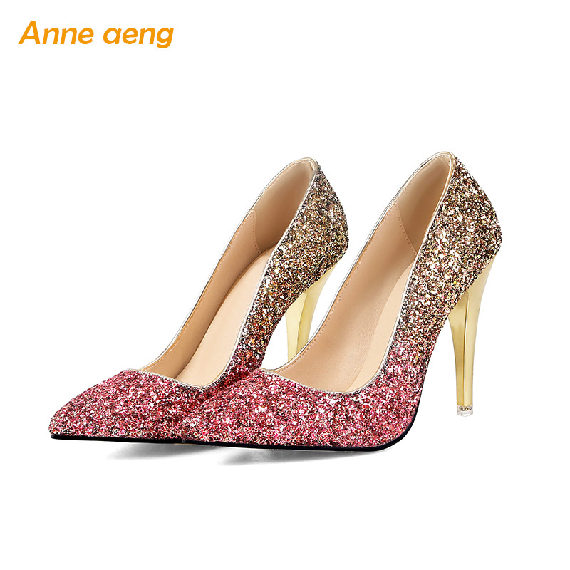 2018 New High thin heel shoes women pumps bling wedding Bridal shoes classic 1cm 5.5cm or 8.5cm pointed toe evening party shoes