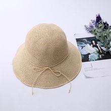 Tejido a mano rafia sombreros de Sol para las mujeres negro cinta de encaje sombrero  de paja de ala grande playa al aire libre d. 6c98033b691