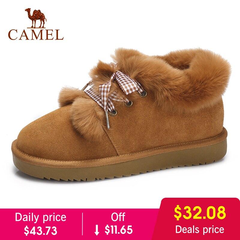 CAMEL/2018, женские зимние сапоги, простая стильная зимняя обувь, женская обувь на плоской подошве, бархатные теплые Нескользящие сапоги