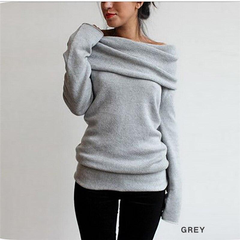 New Autumn Winter Women Sexy Off Shoulder Sweater Fashion Casual Slash Neck Warm Knitwear Sweat Smart Jumper Tops Pullovers