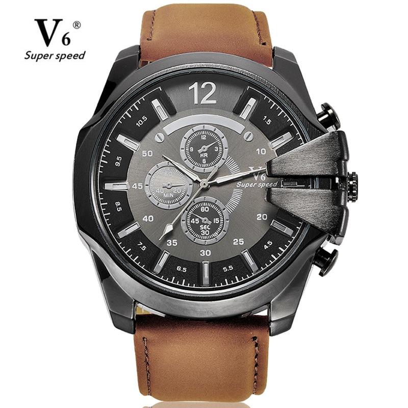 Los hombres de lujo ocasionales V6 cuero reloj militar de cuarzo negocio de la moda masculina reloj de gran tamaño reloj Relogio Masculino