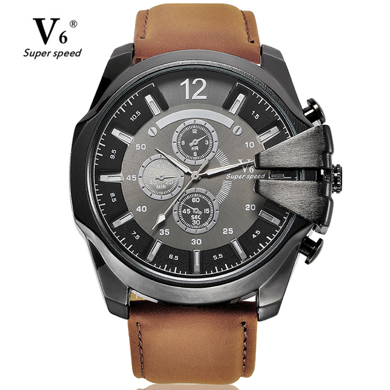 Men Luxury Casual V6 Watch Leather Military Quartz Watch Fashion Business Male Big Size Watch Hour Clock Relogio Masculino men s quartz relogio masculinos dial glass time men clock leather business round case hour watch relojes hombre levert dropship