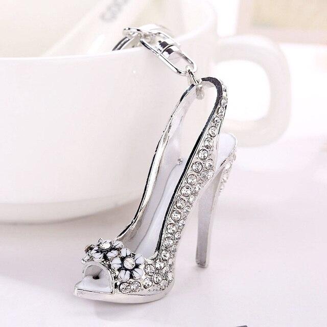 Mulheres Bolsa Encantos Keychain Titular Chaves Do Carro Chaveiro Presentes da Jóia de Cristal Sapatos de Salto Alto Chaveiro Pode Dropshipping