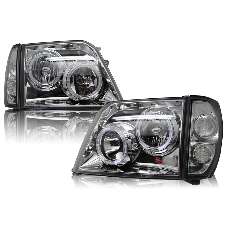 Headlights Set fits Toyota Land Cruiser PRADO <font><b>90</b></font> 1996 1997 1998 1999 2000 2001 Headlamps Left and Right Sides - Chrome image
