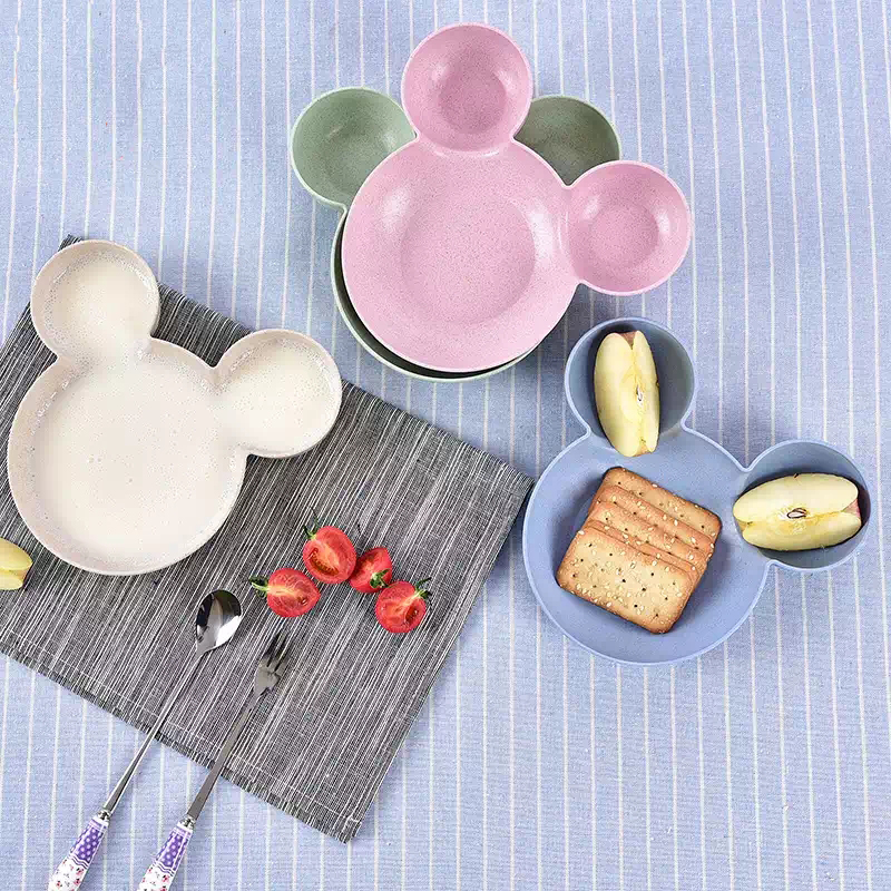 LIXYMO 2017 INS Hot Cute Animal Mouse kids Plates Fruit Salad Vegetable Container Child Dishes Baby Infant Safe Plates BPA Free