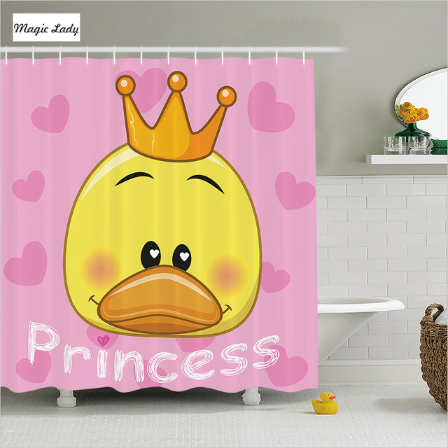 Shower Curtain Funny Bathroom Accessories Princess Teen Adorable Duck Tiara  Hearts Fun Yellow Pink Home Decor