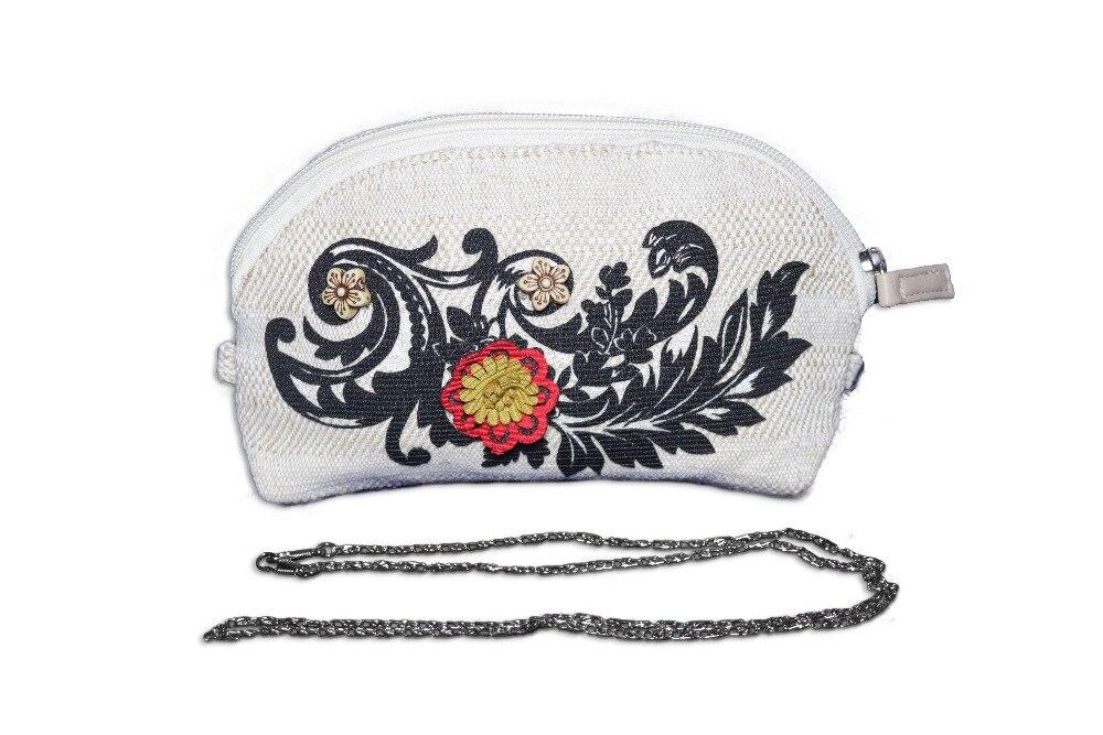 2019 Hand Made New Designer Women Linen Handbags Female Hand Made Flowers Beads 2 In 1 Purse Chain Shoulder Zipper Cosmetic Bag