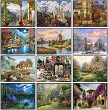Nakış Sayılan Çapraz dikiş kitleri İğne El Sanatları 14 ct DMC Renk DIY Sanat El Yapımı Dekor Manzara 256x182