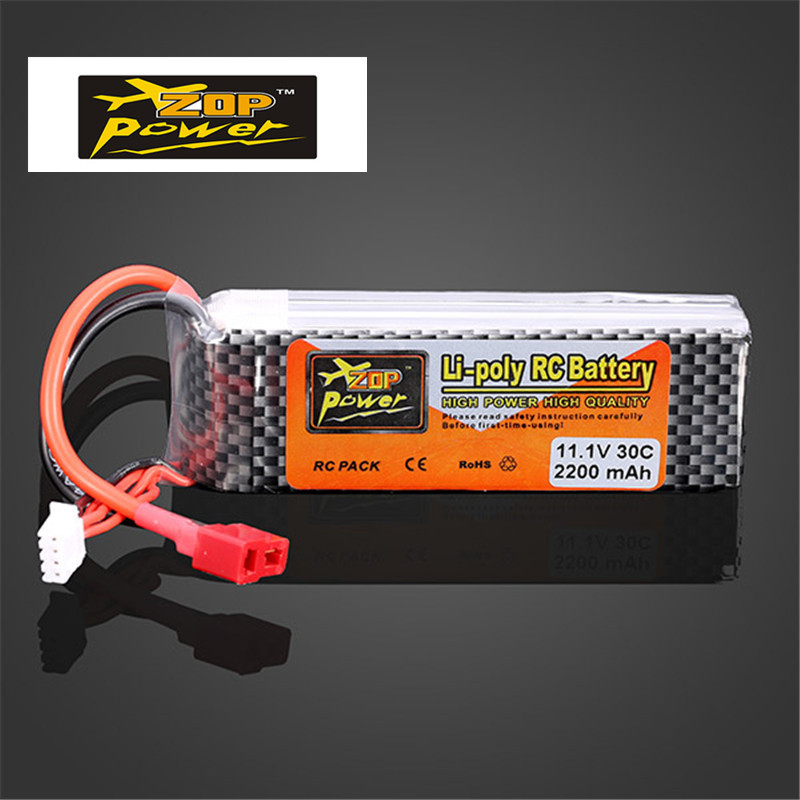 Rechargeable Lipo Battery ZOP Power 11.1V 2200MAH 3S 30C Lipo Battery T Plug vjoycar tk10sse 10000mah rechargeable removable battery