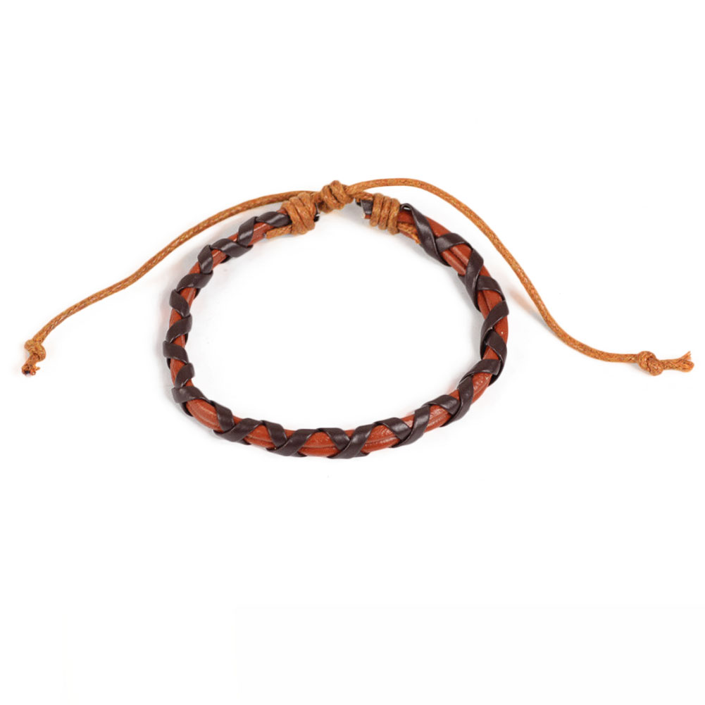 Fashion Causal Style Braided Leather Cord Bracelet Punk Rock Stylish Black Brown
