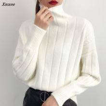 Xnxee A new female turtleneck long sleeved short all-match loose knitted shirt thickening Korean Students