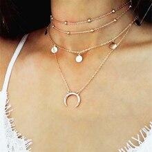 Boho Women Choker Coin Moon Pendant Beaded Multi Layers Necklace Fashion Jewelry