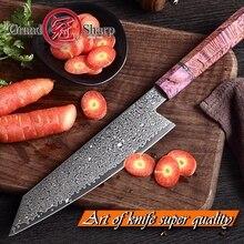 Chef der Messer 67 schichten Japanischen Damaskus stahl 8 zoll Japanischen Küche Messer Lila Griff Verfestigt Holz Damaskus Kochmesser