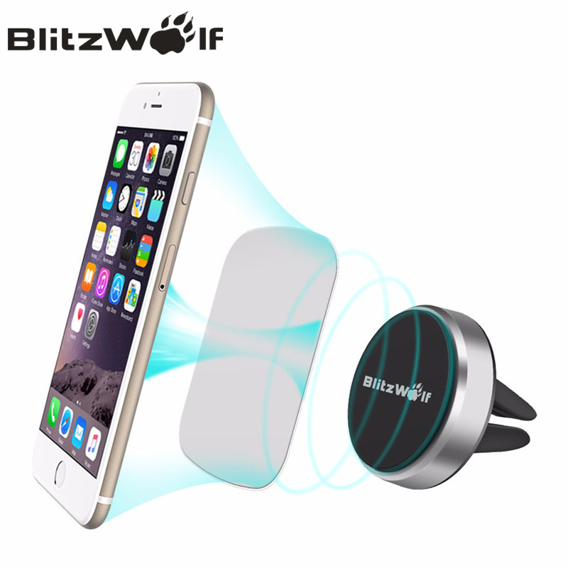 BlitzWolf Magnetic Car Phone Holder Universal Mount Holder Air Vent Car Holder Mobile Phone Stand 360 Degree Rotation For iPhone