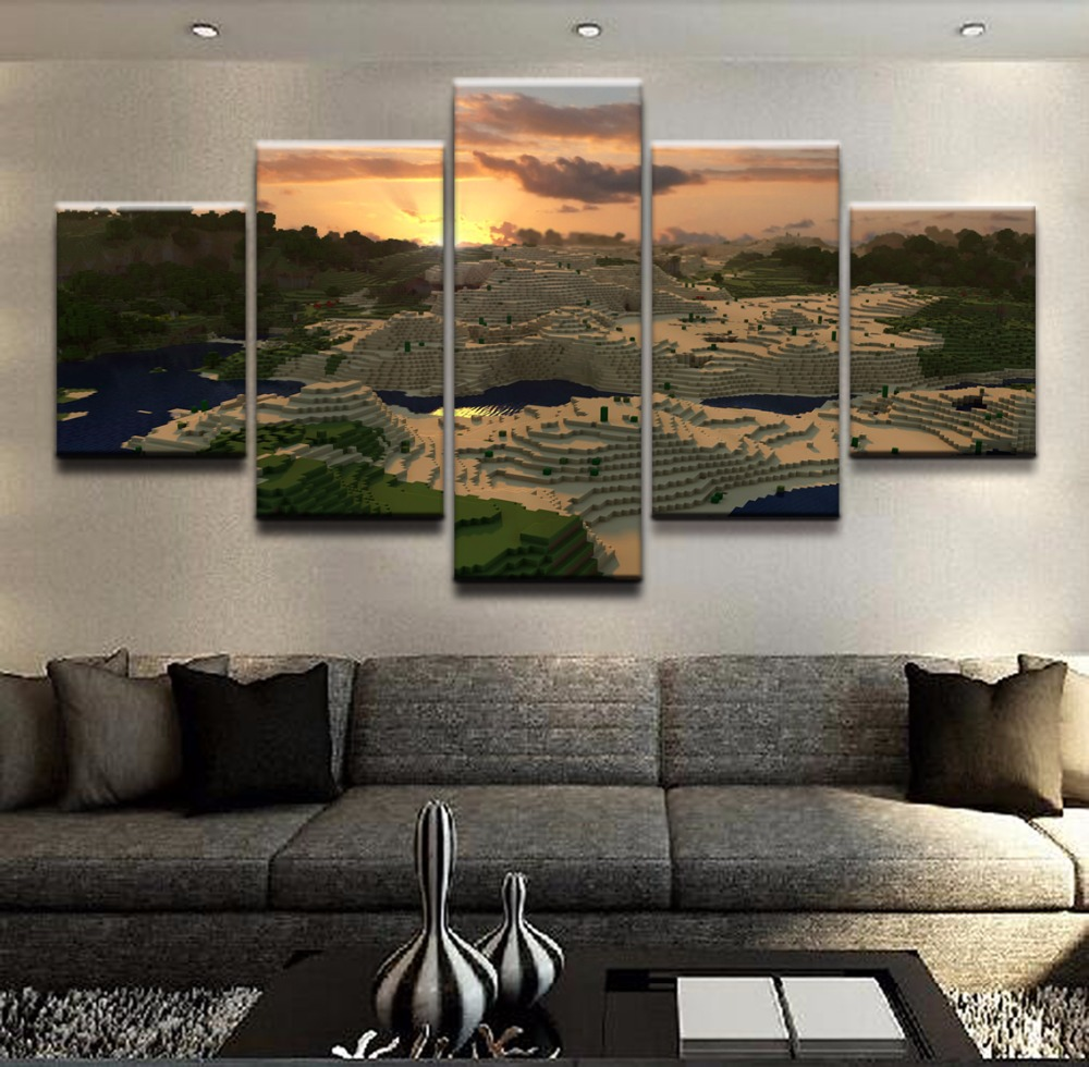 Wall Decor Poster Painting 5 Pieces Landscape Game