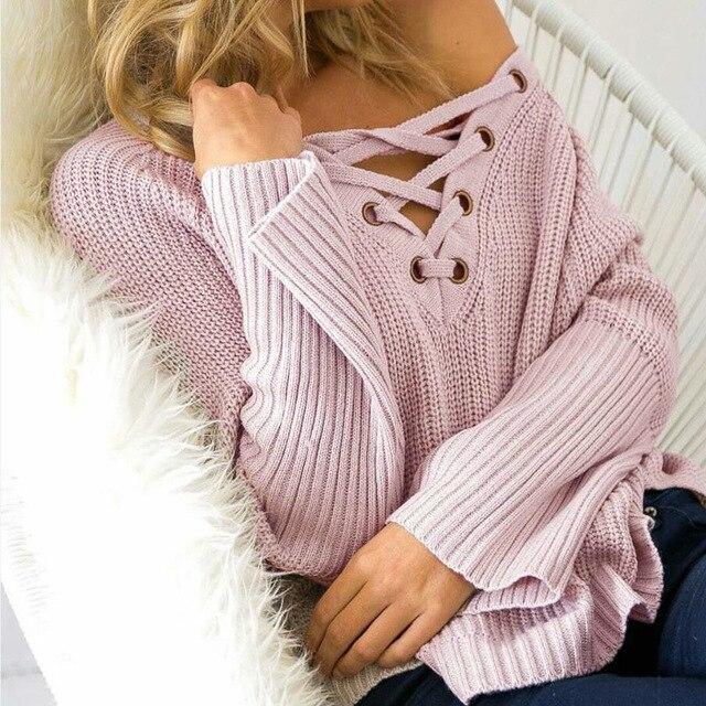 LAAMEI נשים סתיו 2018 אופנה תחרה עד סוודרים סוודרי אבוקה שרוול מגשרים מוצק מזדמן בציר סקסי צווארון V סוודר נשי