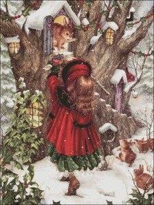 Image 2 - الشتاء هدية عد عبر عدة خياطة DIY اليدوية تطريز للتطريز 14 ct الصليب الابره مجموعات DMC اللون