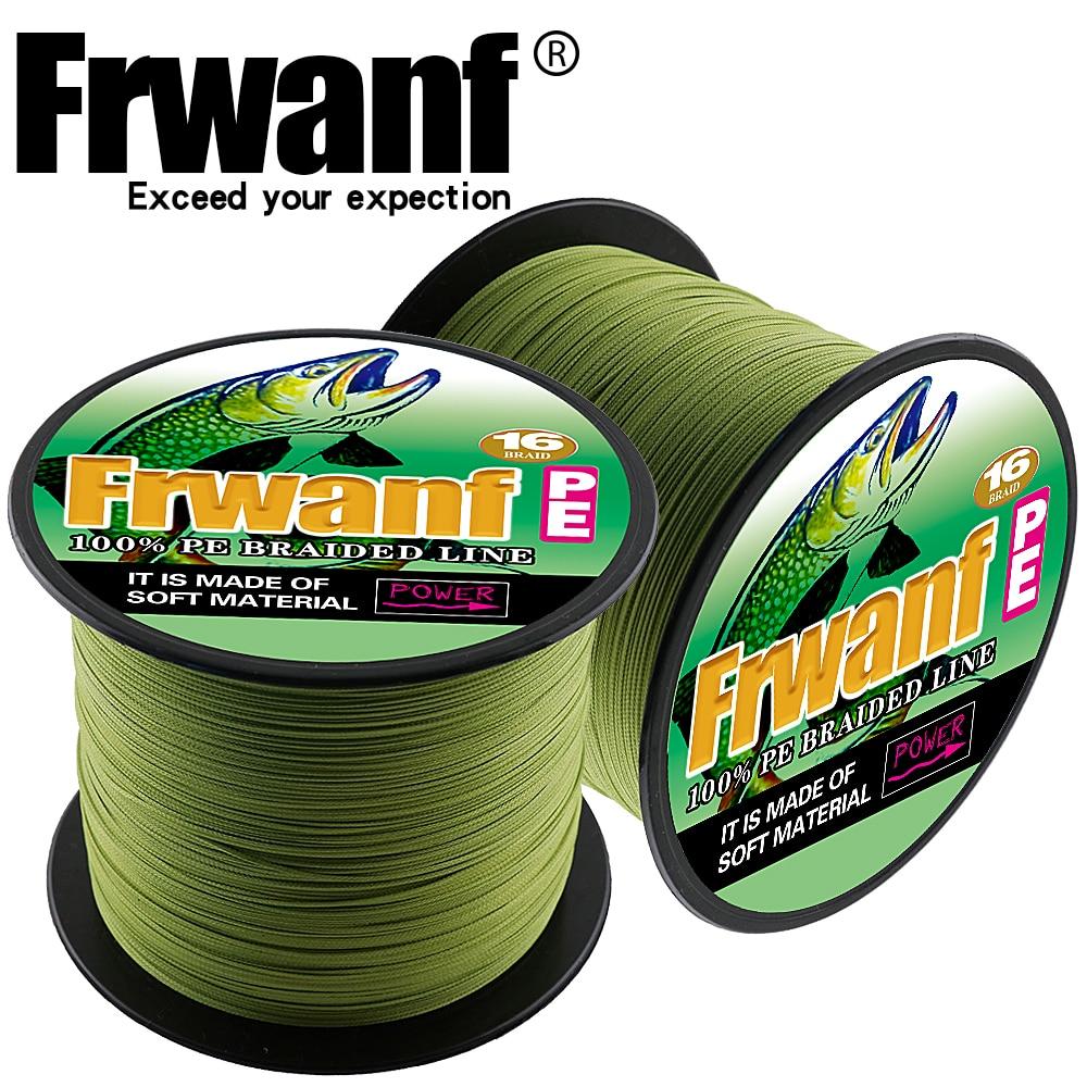 все цены на Frwanf 16 Braid Fishing Accessories 500M Braided Fishing Line China Famous Brand Multifilament Rope 16 Strands 20 30 40 50 300LB онлайн
