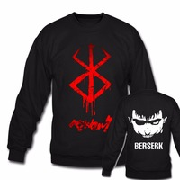 New Berserk Guts Japan Anime Manga Pullover Sweatshirts Japanese Cartoon Hooded Hoodies Black Long Sleeve CrewNeck