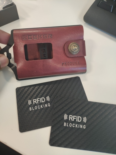 ZEEKER New Multifunctional Leather Metal Wallet Rfid Blocking Card Holder Credit Card Wallets Men's Wallets photo review