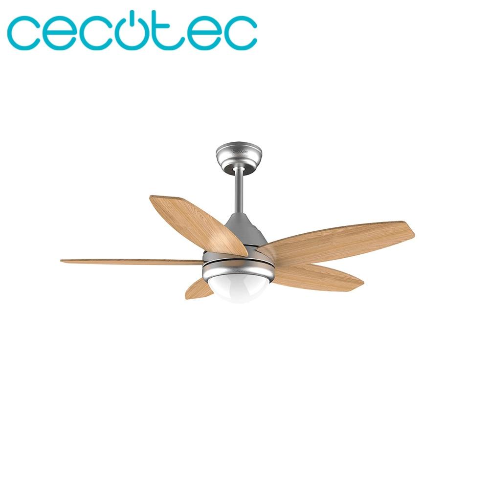 Cecotec 50W com 5 ForceSilence Aero 490 Ventilador de Teto Lâminas Reversíveis 3 Velocidades de Integrar um DIODO EMISSOR de LUZ Da Lâmpada Com Controle Remoto controle