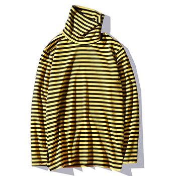 Novedad 2019 Kpop coreano Harajuku negro y amarillo a rayas cuello de tortuga de manga larga de algodón holgado de gran tamaño Unisex