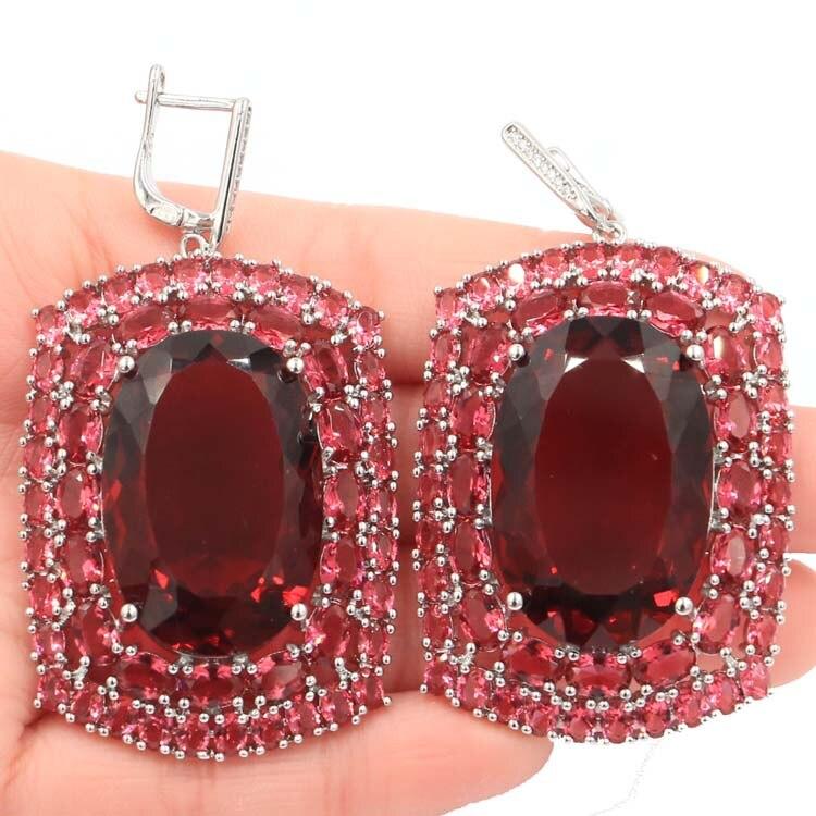 Long Big Heavy 36g Top AAA Pink Raspberry Rhodolite Garnet Woman 39 s Gift Silver Earrings 63x35mm in Earrings from Jewelry amp Accessories