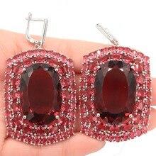 Long Big Heavy 36g Top AAA+ Pink Raspberry Rhodolite Garnet Womans Gift Silver Earrings 63x35mm