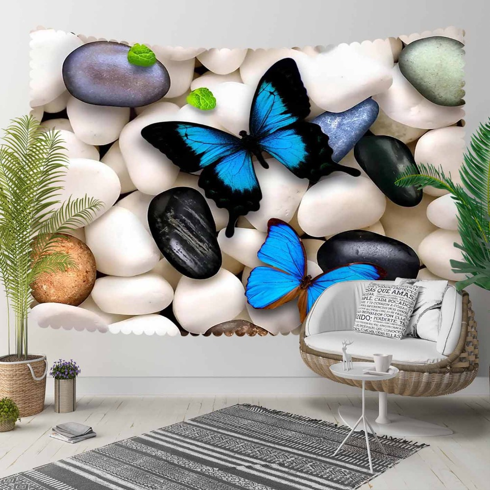 Else White Gray Black Pebble Stones Blue Butterfly 3D Print Decorative Hippi Bohemian Wall Hanging Landscape Tapestry Wall Art