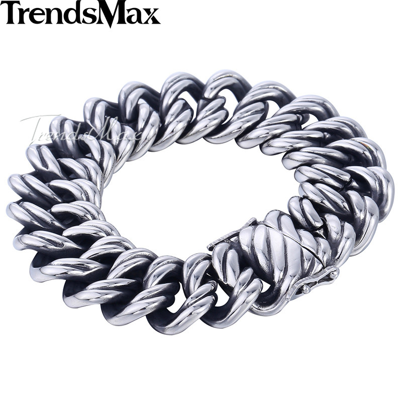 Trendsmax Double Curb Cuban Chain Bracelet Mens 316L Stainless Steel Wristband Bangle Silver Tone 22mm KHB465 trendsmax bracelet for men 316l stainless steel curb cuban link chain bracelet totem knot charm wristband men fashion gift hb10