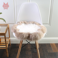 Coffee pink grey 100% wool plush long fur round chair seat cushion pillow home decor coussin de chaise SP5456 free shipping