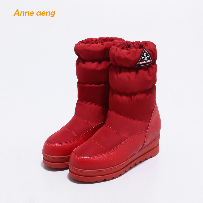Anne Aeng Mid-Calf Height Increasing Snow Boots Warm Plush Insole Platform Waterproof Casual Style Slip-on Ladies And Women shoe stylish women s mid calf boots with solid color and fringe design