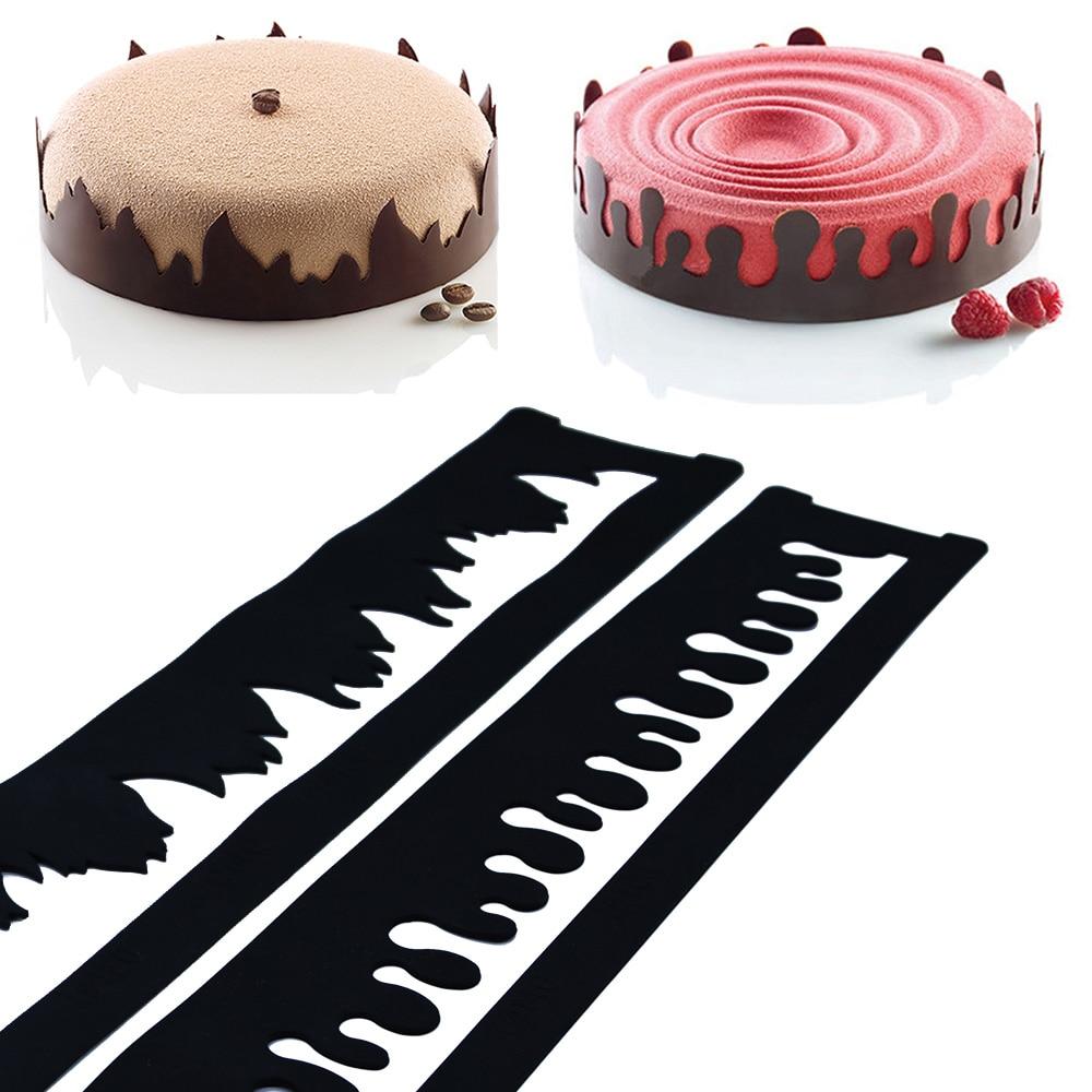 80x8.5 cm Bulle De Feuille de Flamme En Forme Silicone Gâteau Bord Chocolat Moule DIY Dentelle Sucre Artisanat Fondant De Décoration De Gâteau outils Ustensiles de Cuisson