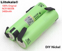6PCS Liitokala new original NCR18650B 3.7V 3400mAh 18650 rechargeable lithium battery for  battery + DIY nickel piece Replacement Batteries